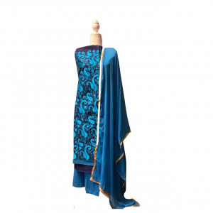 Blue on Contrast Embroidered Cotton Shalwar